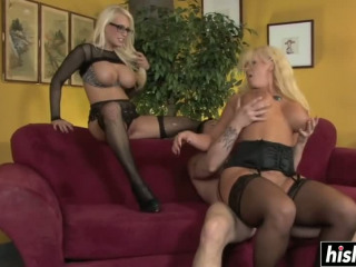 Blonde babes play with his dick