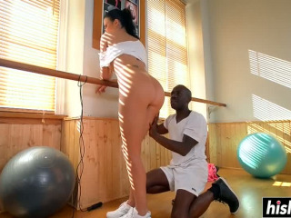 Busty Jasmine plays with a black shaft