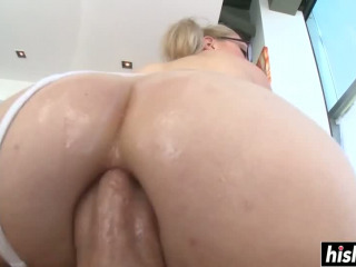 Big cock destroys her small butt