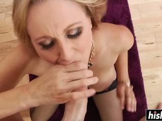 Julia enjoys blowing a long shaft