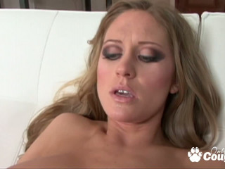 Amazing blonde Abby Rode blowing and riding on massive dick